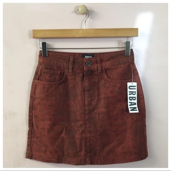 a7dc87b09e BDG Skirts | Uo Rust Snake Print Denim Mini Skirt | Poshmark